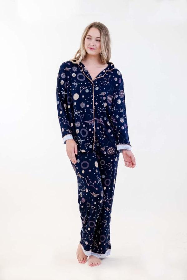 Navy Polygonal Long Pajama Set