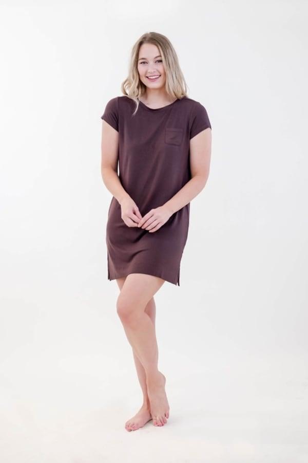 One Spirit Pocket Shirt Dress - Puce - Front