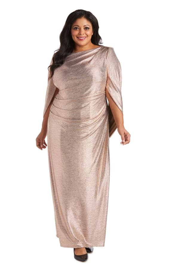 Plus Long Dress with Back Drape Sleeves