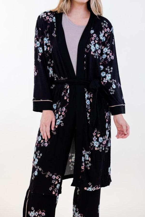 Floral Long Wrap Robe