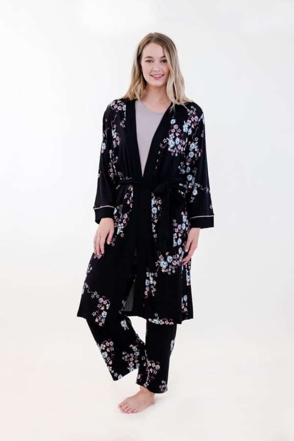 Floral Long Wrap Robe - Black - Front