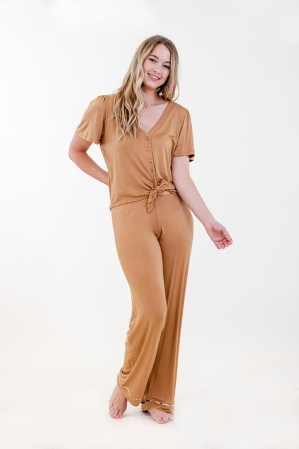 One Spirit Solid Front-Tie Pajama Set - Meerkat - Front