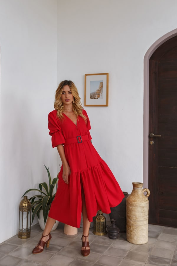 Peony V-Neck Midi Dress - Red - Front