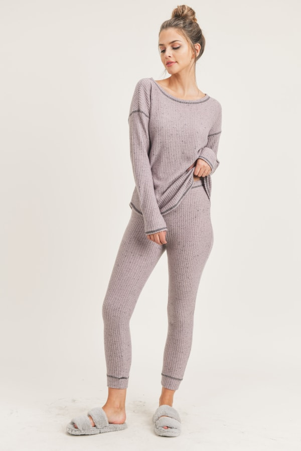Me Time Lounge Top and Leggings - Pink - Front