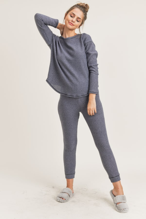 Me Time Lounge Top and Leggings - Navy - Front