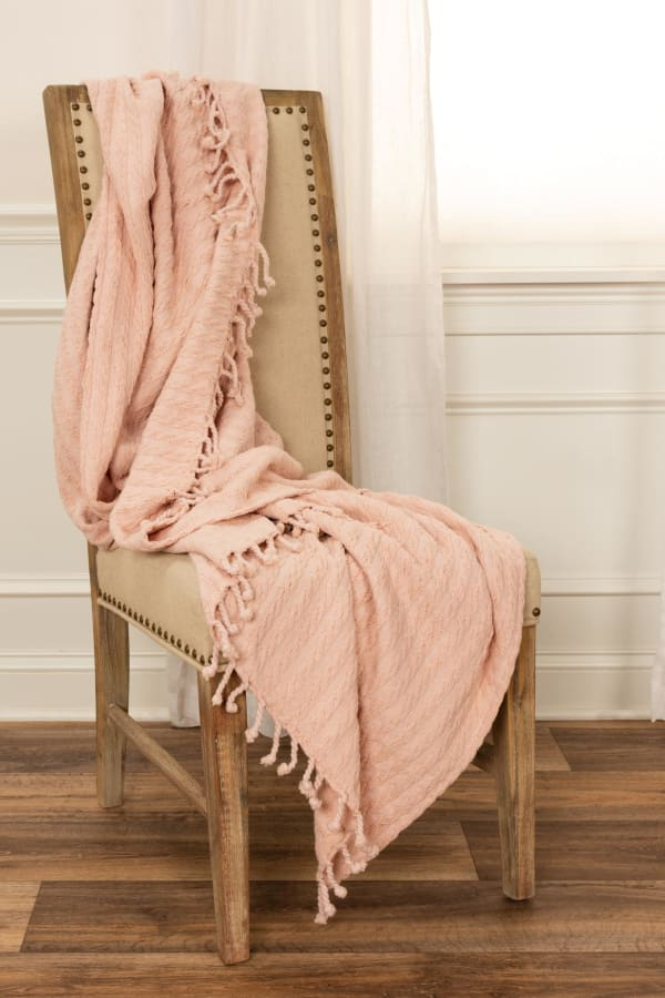 """Blush Cotton Knitted 50"""" x 60"""" Throw - Pink - Front"""
