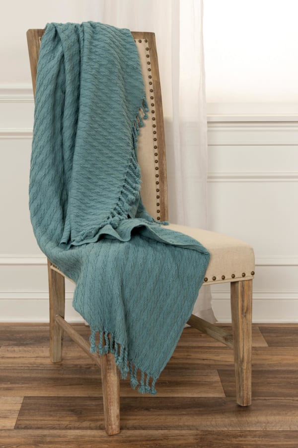 """Teal  Cotton Knitted 50"""" x 60"""" Throw"""