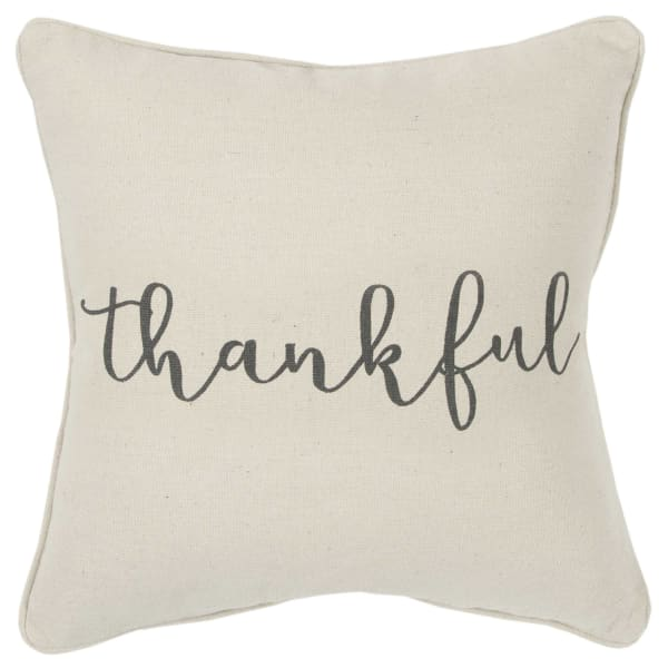 """Holiday """"Thankful"""" 20x20 Natural Cotton Poly Filled Pillow"""