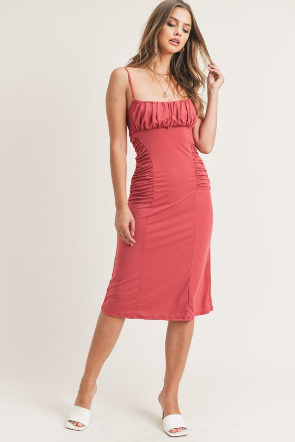 Kelli Ruched Dress - Claret Red - Front