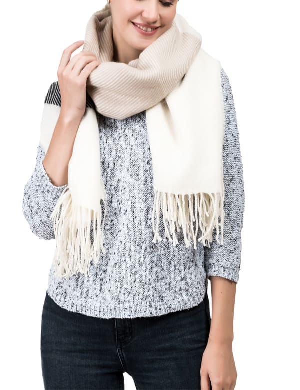 Stripe Scarf with Tassels - Cream / Black - Front