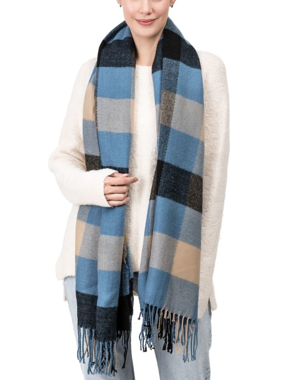 Plaid Scarf with Tassels - Gray / Blue - Front