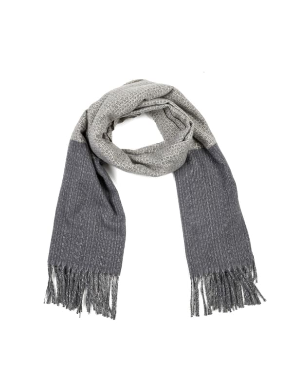 Long Scarf with Tassels - Gray - Front
