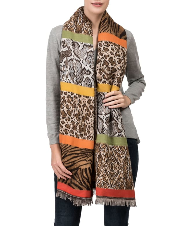 Double Jacquard Leopard Scarf with Tassels - Multi - Front