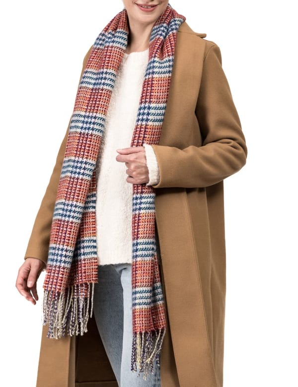 Scarf with Tassels - Orange / White - Front