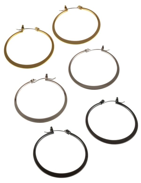 3 Hoop Earrings - Multi - Front