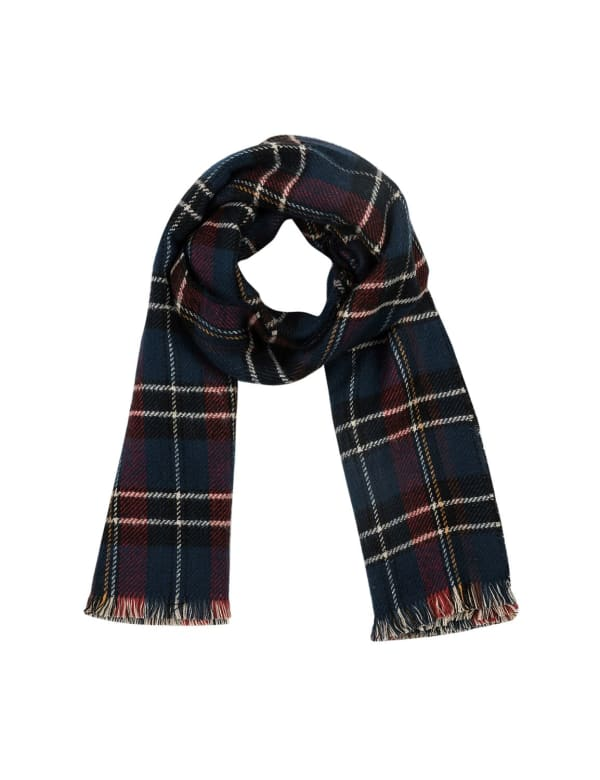 Plaid Reversible Scarf with Fringes - Grey / White - Front