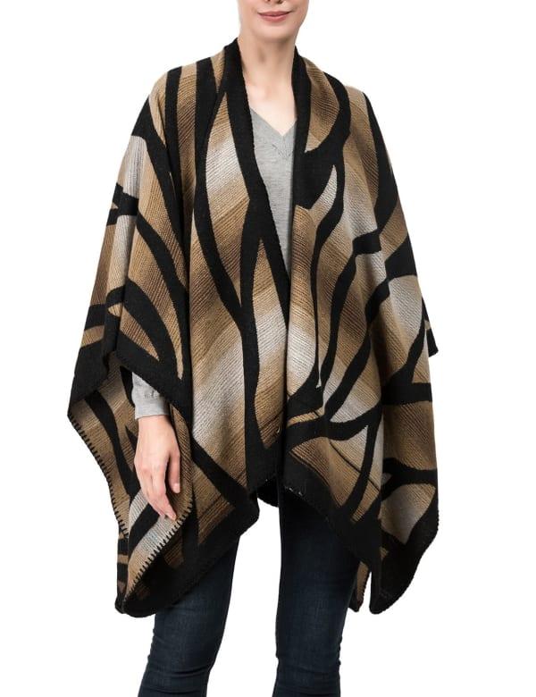 Black and Camel Animal Pattern Poncho Shawl