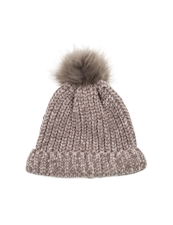 Chenille Fold-Over Beanie with Pom Pom - Gray - Front