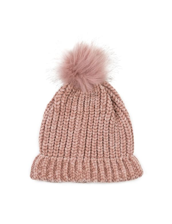Chenille Fold-Over Beanie with Pom Pom - Pink - Front