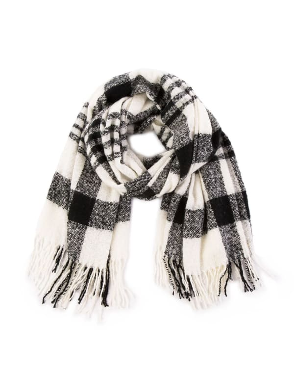 Plaid Scarf with Tassels - Black / White - Front