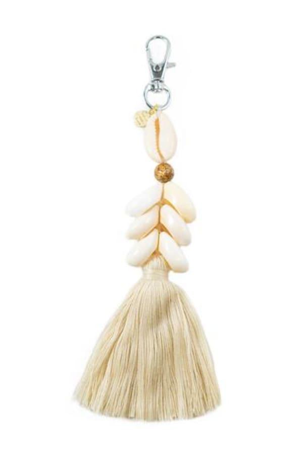 Jasper Cowry Shell Keychain - Natural White / Tan - Front