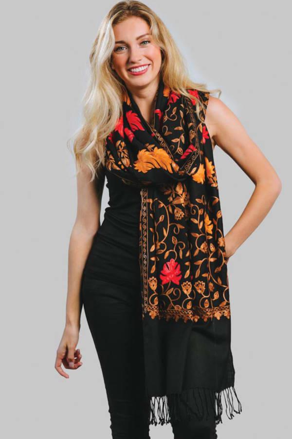 Janavi Embroidered Wool Shawl - Black / Autumn Shades - Front