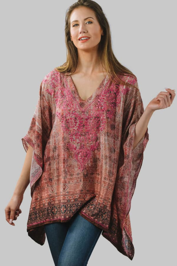 Demira Embroidered Tunic Top - Rose / Plum - Front