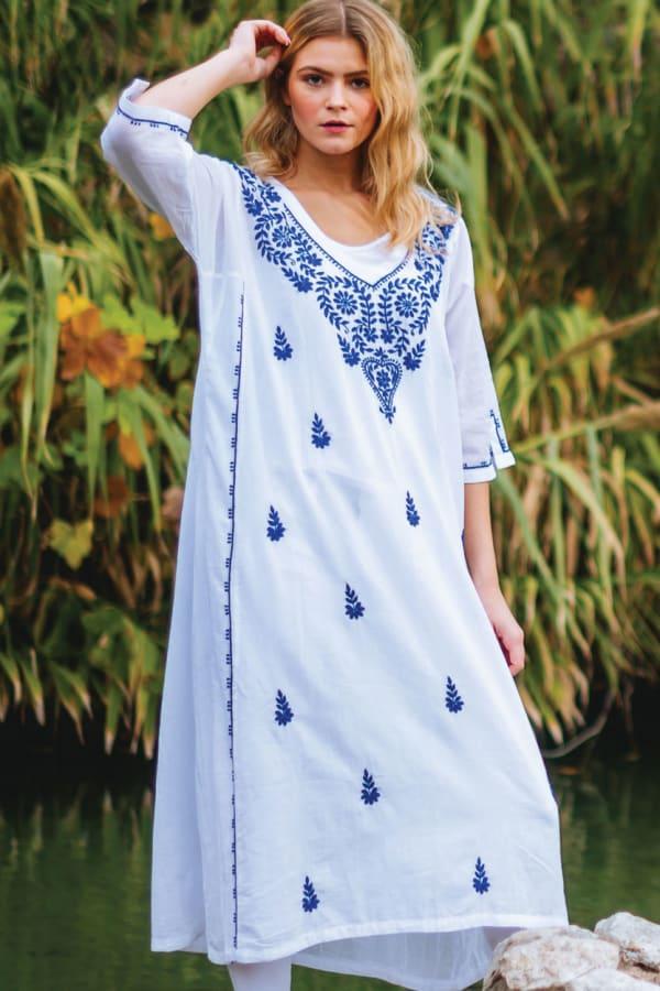 Parama Blue Caftan - White / Blue - Front