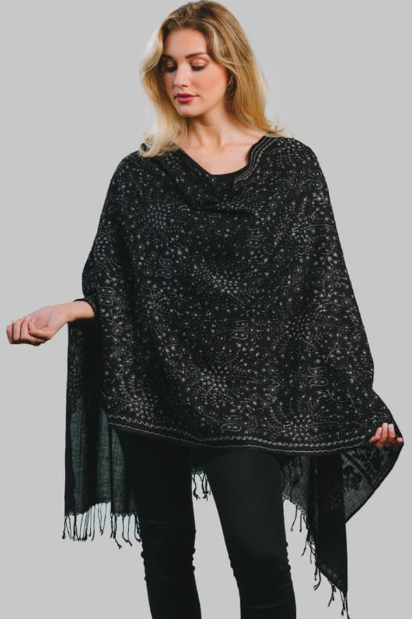Tanisi Embroidered Wool Shawl
