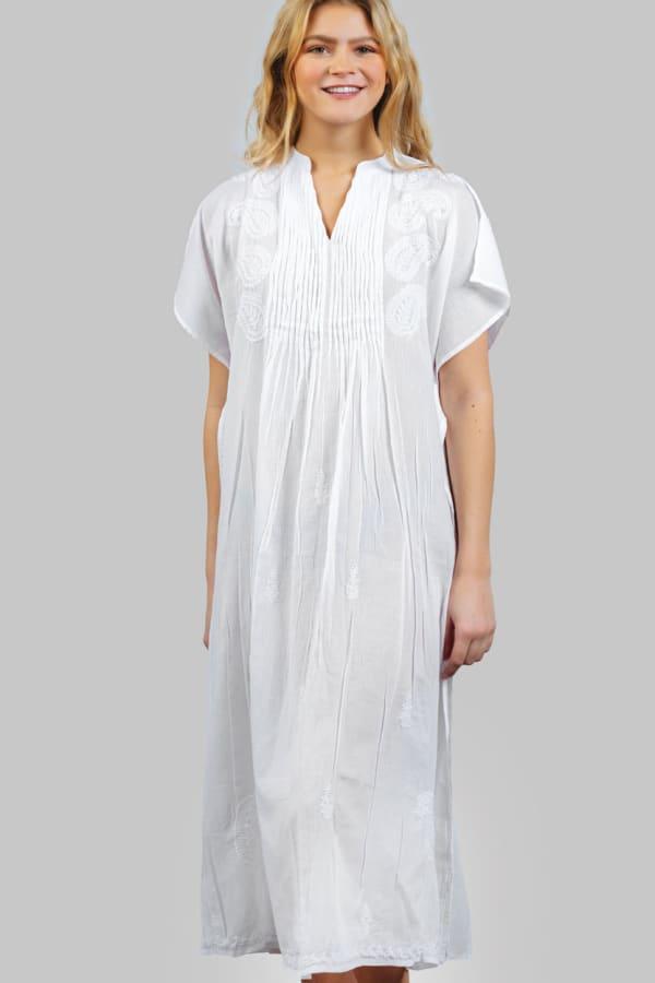 Saguna Embroidered Caftan - White - Front