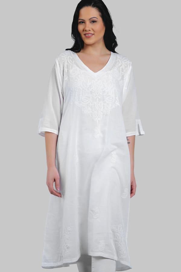 Parama White Caftan - White - Front