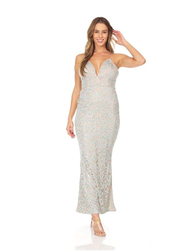 Sage Sequin Slip Dress