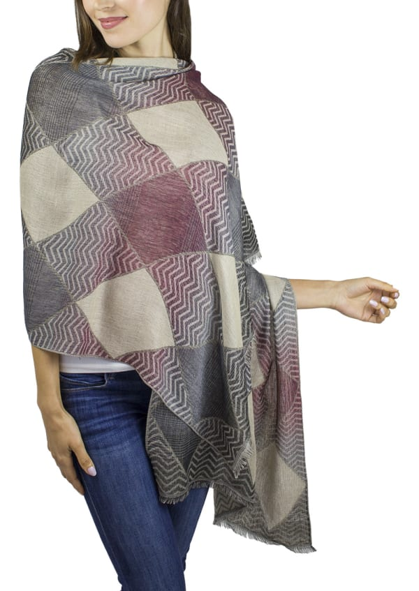 Colorblock Wave Shawl - Black / Grey - Front