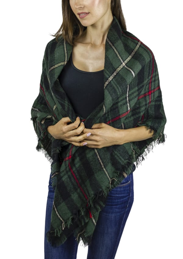 Plaid Blanket Wrap - Green / Multi - Front