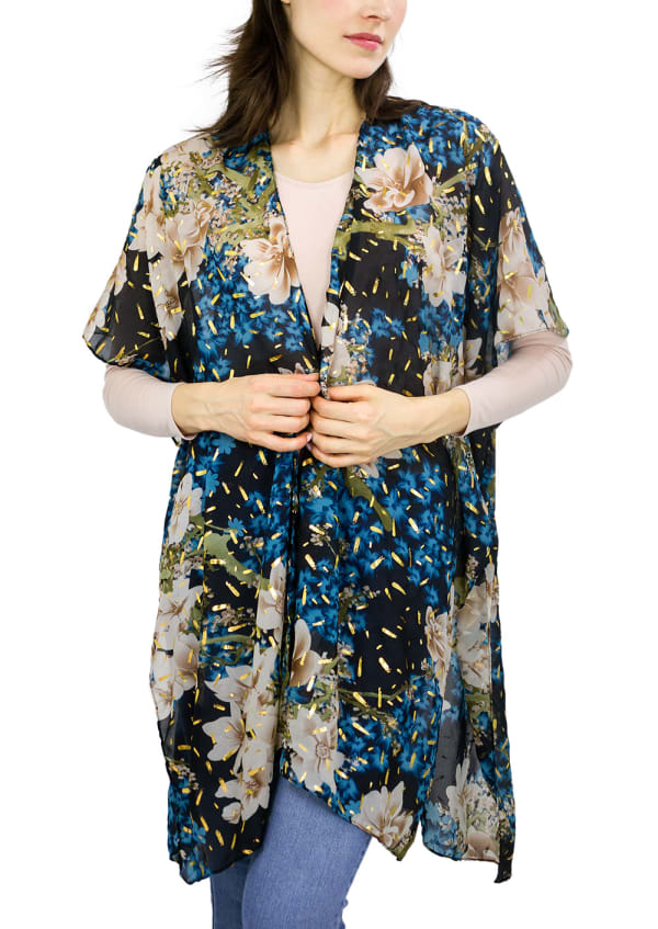 Floral Kimono With Metallic Spackle - Teal - Front