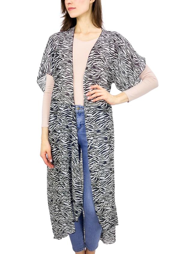 Zebra Print Duster Kimono - Black / White - Front