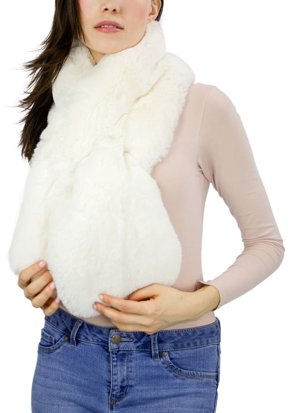 Faux Mink Pull Through Scarf - Ivory - Front