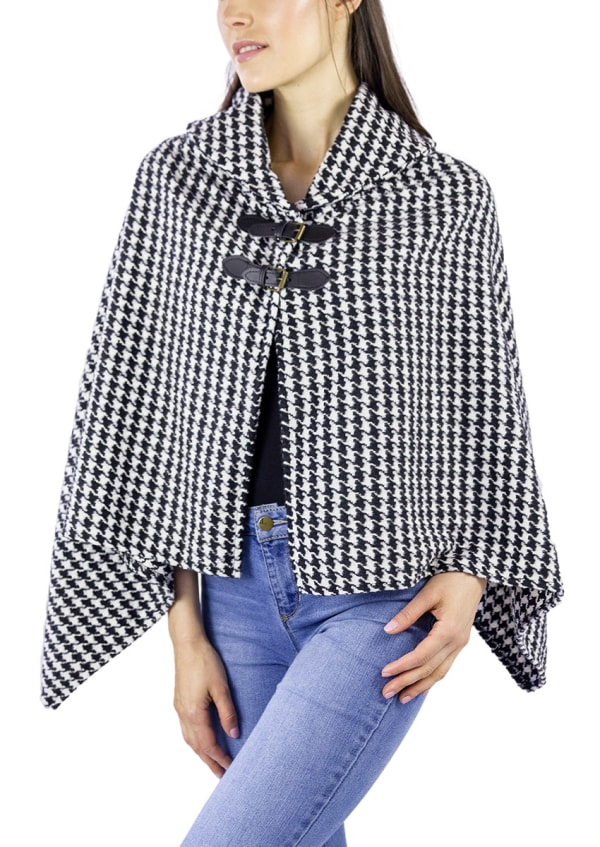 Houndstooth Shawl Collar Cape