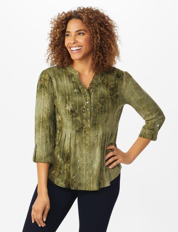 Roz & Ali Sequin Tie Dye Popover - Olive Green - Front