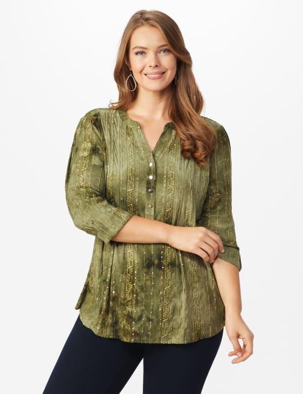 Roz & Ali Sequin Tie Dye Popover - Plus - Olive Green - Front