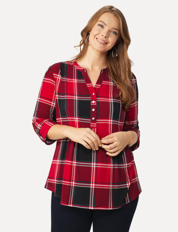 Roz & Ali Red and Black Plaid Pintuck Popover - Plus - Red-Black - Front