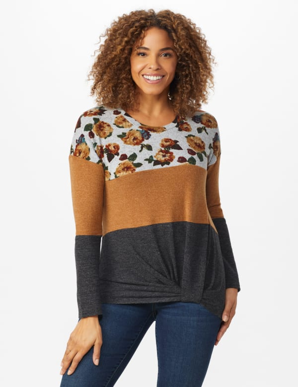 Westport Floral Hacci Sweater Knit Top - Spiced/Charcoal - Front