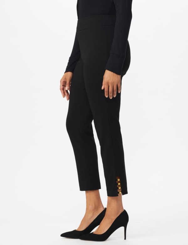 Roz & Ali Tummy Control pull on ankle pant with gold barrel trim at hem - Misses