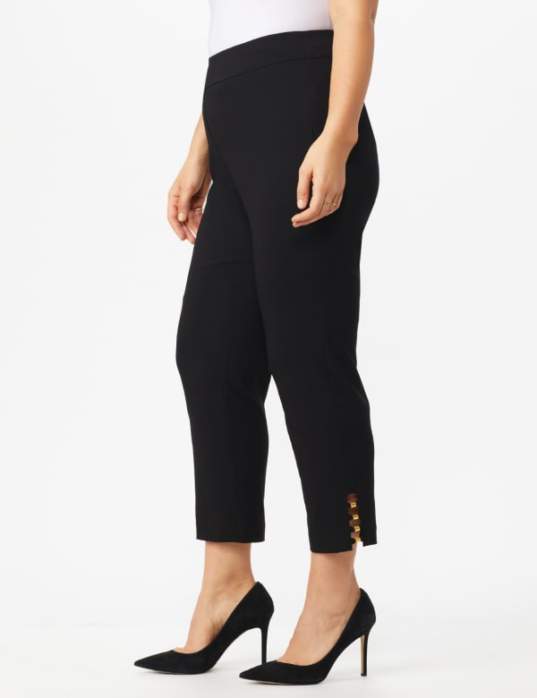 Plus Roz & Ali Tummy Control Pull On Ankle Pant with Gold Barrel Trim - Plus - Black - Front
