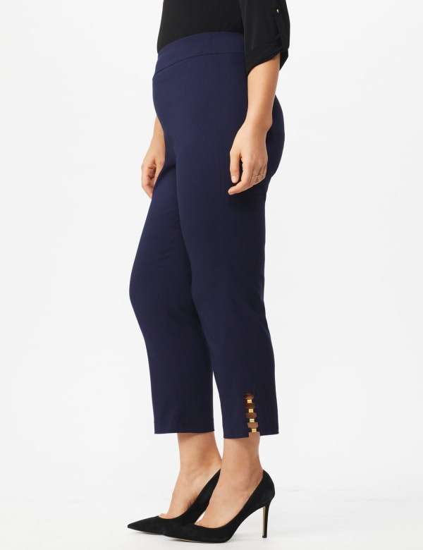 Plus Roz & Ali Tummy Control Pull On Ankle Pant with Gold Barrel Trim - Plus