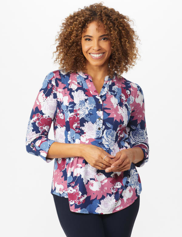 Denim Floral Pintuck Popover - Misses - Denim - Front