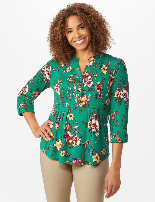 Multi Color Floral Pintuck Popover - Misses