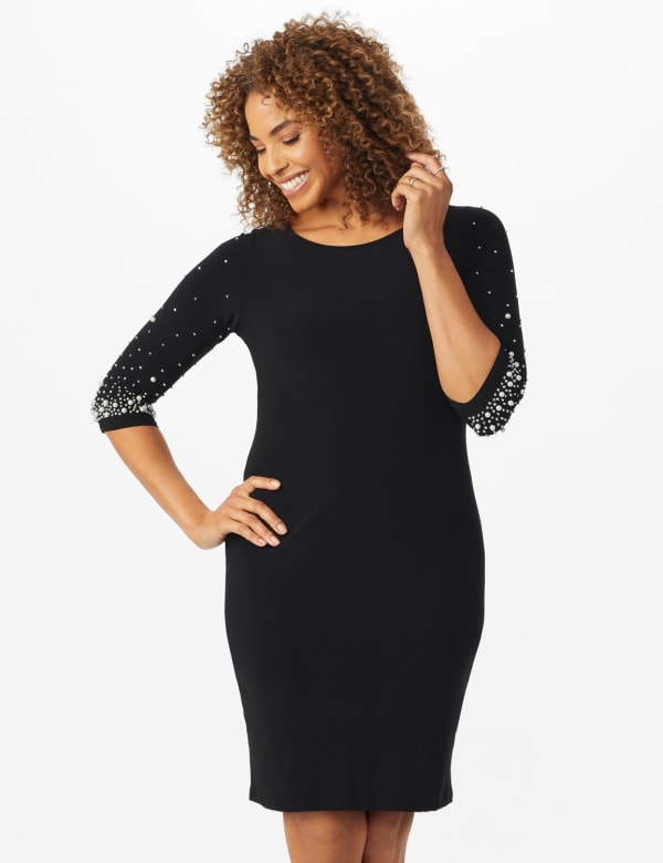 Bead and Pearl Embellished Dress - Black - Front
