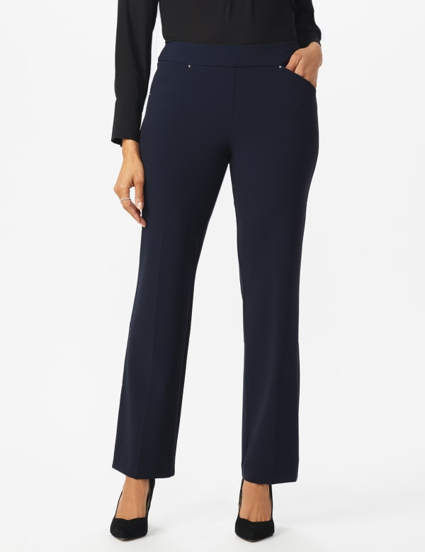 Roz & Ali Secret Agent Tummy Control Pants Cateye Rivets - Average Length - navy - Front