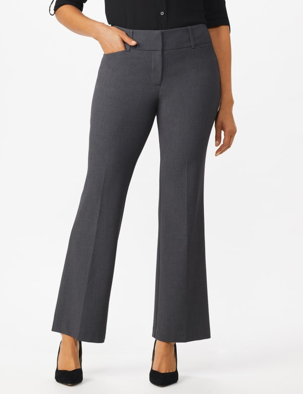 Roz & Ali  Secret Agent  Trouser With Cateye  Pocket  & Zipper -Grey - Front